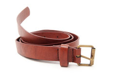 Brown leather belt isolated on white Stock Images