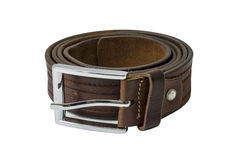 Brown leather belt isolated on white background Stock Image