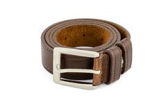 Brown leather belt isolated on white Stock Image