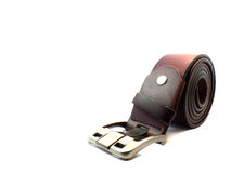 Brown leather belt on isolated Stock Image