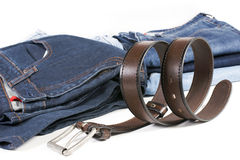 Brown leather belt and jean Royalty Free Stock Images