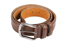 Brown leather belt for man on white background Royalty Free Stock Image