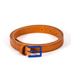 Brown Leather belt for men and women with blue buckle on white background. Brown stylish, modern Leather belt for men and women with blue buckle on white Stock Images