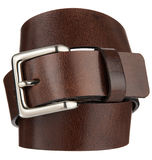 Brown leather belt with metal Cast buckle Royalty Free Stock Images