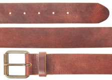 Brown leather belt set Royalty Free Stock Photos