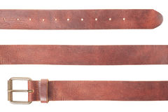 Brown leather belt set Royalty Free Stock Image