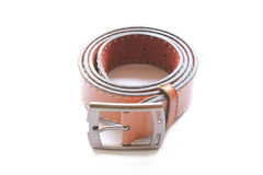Brown Leather Belt. On white Stock Photos