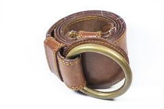 Brown leather belt Royalty Free Stock Photography
