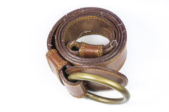 Brown leather belt Royalty Free Stock Images