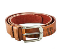 Brown leather belt. On white background Stock Images