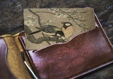 Brown Leather Bifold Wallet Stock Photos