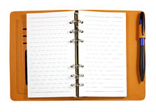 Brown leather binder notebook with pen isolated Royalty Free Stock Images