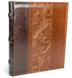 Brown leather book on wite backround. On white isolated backround stock photos