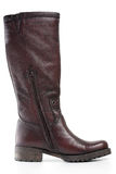 Brown leather boot. Female fashionable brown leather boot Royalty Free Stock Images