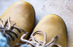 Brown leather boot. Close up of a brown leather boot and laces Royalty Free Stock Photography