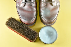 Brown leather boot and polish kit Royalty Free Stock Image
