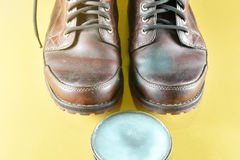 Brown leather boot and polish kit Stock Photography