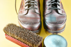Brown leather boot and polish kit Royalty Free Stock Photo