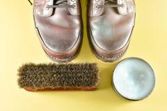 Brown leather boot and polish kit Stock Image