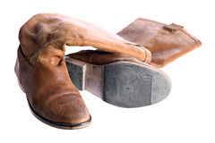 Brown leather boots Stock Images