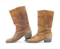 Brown leather boots with heel to toe Stock Photo