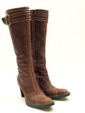 Brown leather boots isolated Royalty Free Stock Images