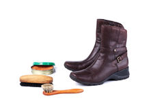 Brown leather boots and polish equipments Stock Photography