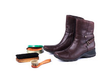 Brown leather boots and polish equipments Stock Photos