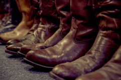 Brown leather boots Stock Image