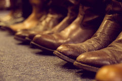Brown leather boots Royalty Free Stock Images