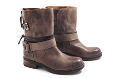 Brown leather boots on a white background Royalty Free Stock Photography