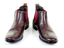 Brown leather boots for women Stock Images
