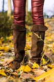 Brown leather boots and yellow leafs Stock Photo