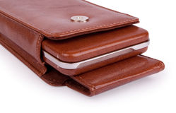 Brown leather box Royalty Free Stock Photography