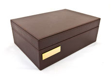 Brown leather box isolated Stock Photo