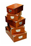 Brown leather boxes Stock Photo
