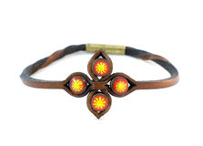 Brown leather bracelet Royalty Free Stock Photography