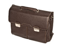 Brown leather briefcase with brass buckle Royalty Free Stock Photography