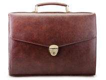 Brown leather briefcase isolated Stock Photography