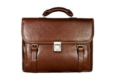 Brown leather briefcase isolated on white background Royalty Free Stock Images