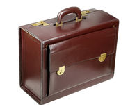 Brown leather briefcase Stock Images