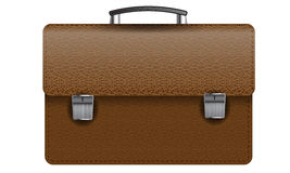 Brown leather briefcase isolated on white photo-realistic vector illustration Royalty Free Stock Photography