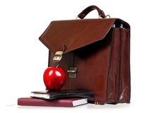 Brown leather briefcase with office accessories Stock Photos