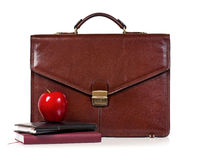 Brown leather briefcase Stock Photo