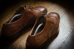 Brown leather brogue shoes Royalty Free Stock Images