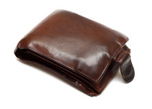 Brown leather bulging purse Stock Images