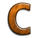 Brown leather C. Individual isolated letter C in brown leather series Royalty Free Stock Image