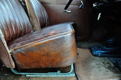 Brown leather car interior vintage collectible car Royalty Free Stock Image