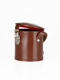 Brown leather case for keeping camera lens on white background Royalty Free Stock Images