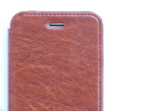 Brown Leather Case for Mobile. Phone, Isolated Royalty Free Stock Photo